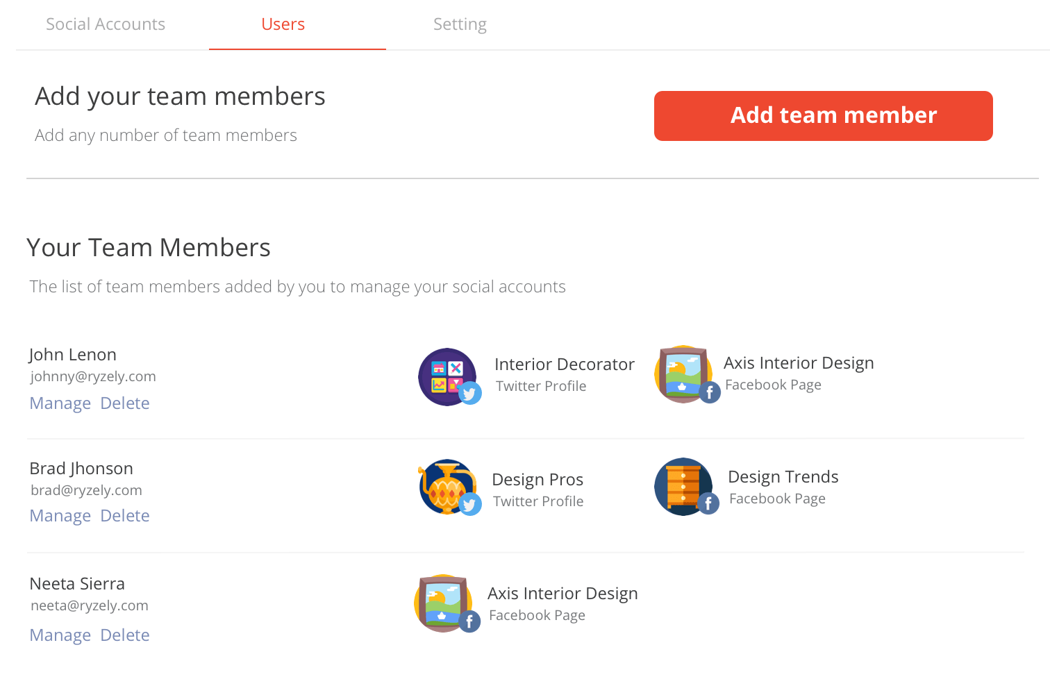 Add team member on Ryzely free social media management tools